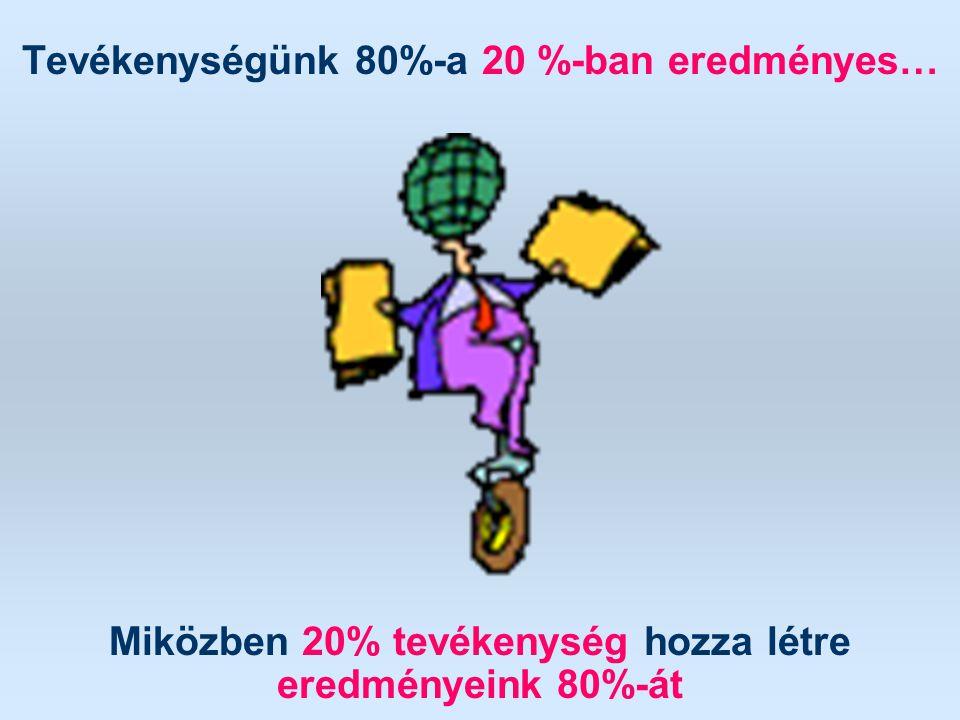Tevékenységünk 80%-a 20 %-ban eredményes…
