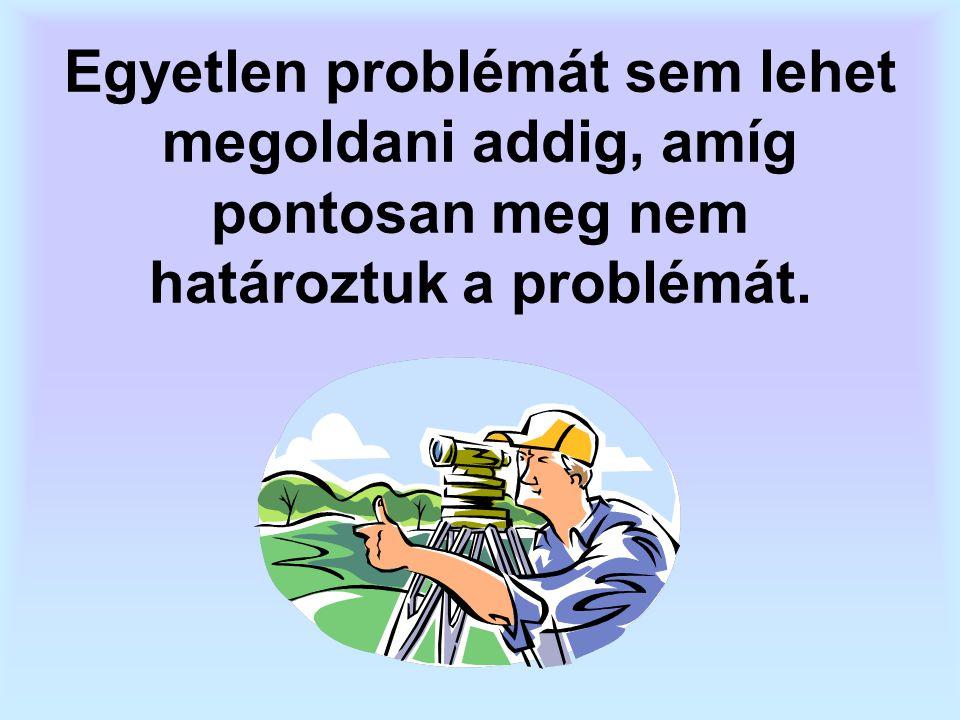 Egyetlen problémát sem lehet megoldani addig, amíg pontosan meg nem határoztuk a problémát.