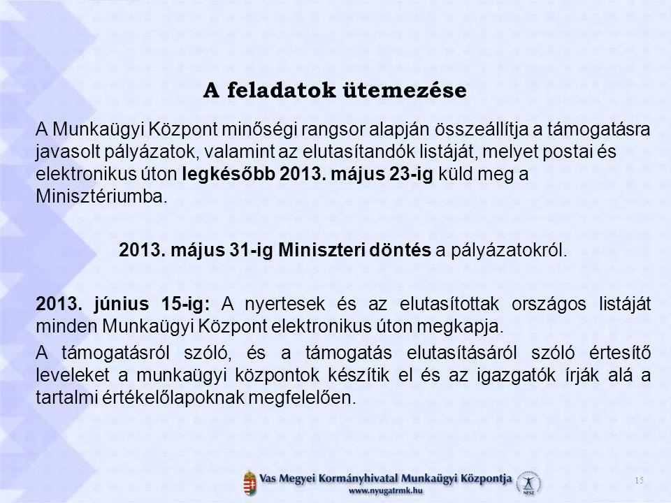 2013. május 31-ig Miniszteri döntés a pályázatokról.