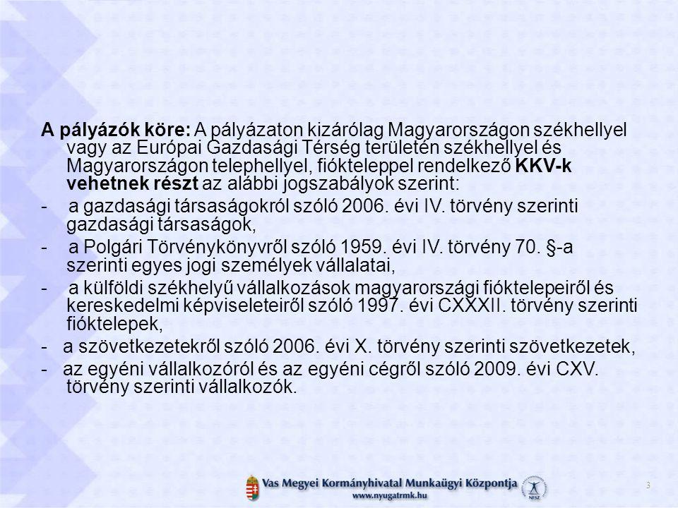 A pályázók köre: A pályázaton kizárólag Magyarországon székhellyel vagy az Európai Gazdasági Térség területén székhellyel és Magyarországon telephellyel, fiókteleppel rendelkező KKV-k vehetnek részt az alábbi jogszabályok szerint: