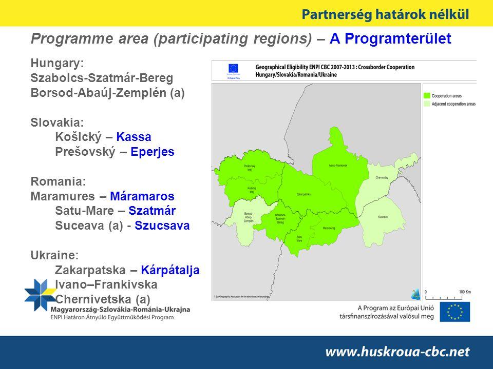 Programme area (participating regions) – A Programterület