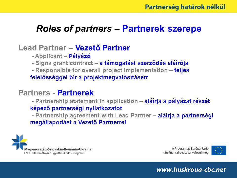 Roles of partners – Partnerek szerepe