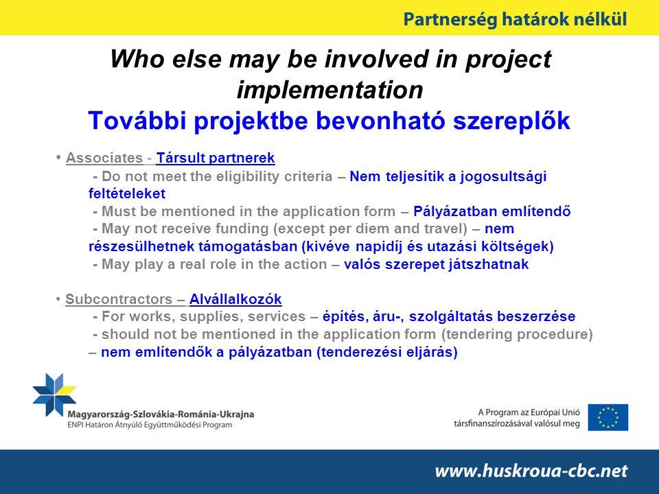 Who else may be involved in project implementation További projektbe bevonható szereplők