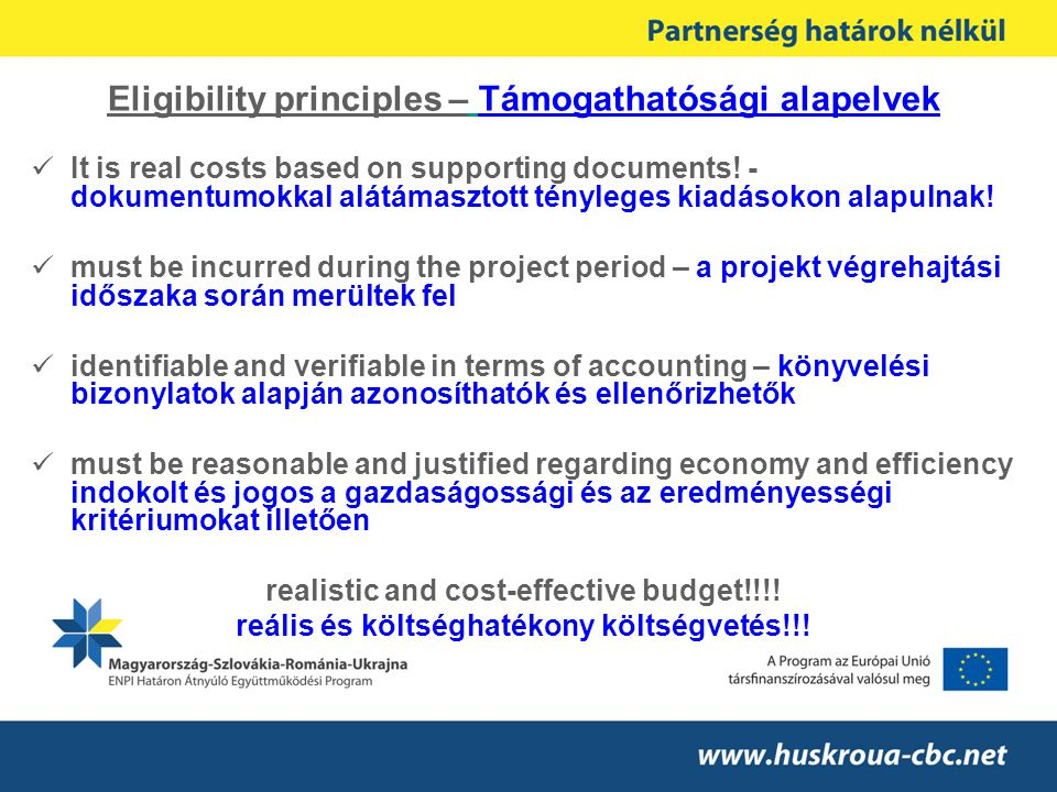 Eligibility principles – Támogathatósági alapelvek