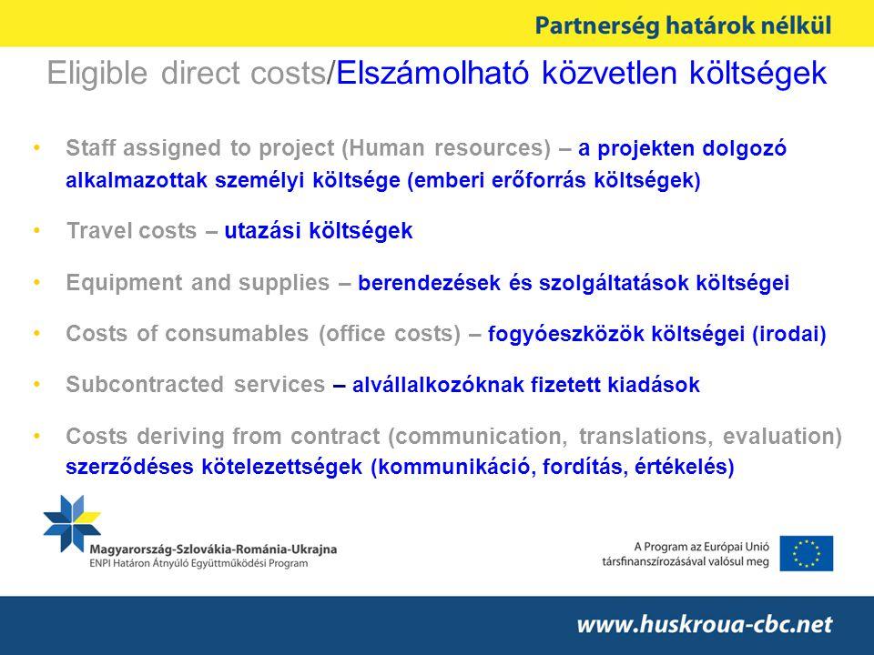 Eligible direct costs/Elszámolható közvetlen költségek