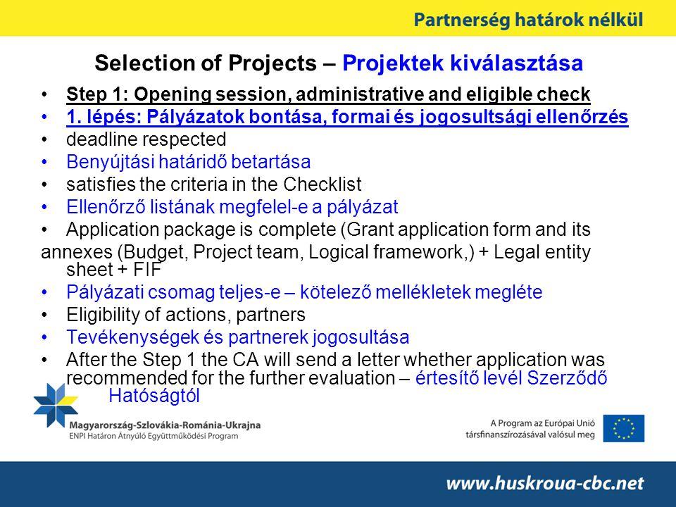 Selection of Projects – Projektek kiválasztása