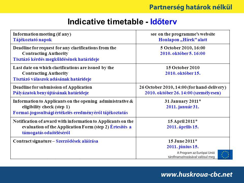 Indicative timetable - Időterv