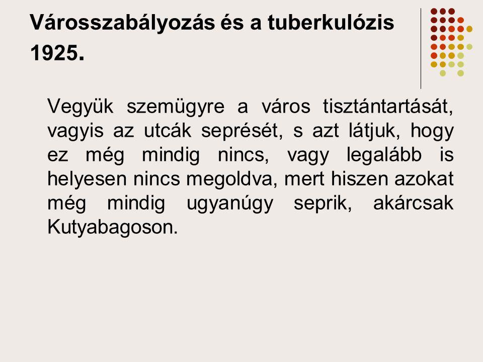 Városszabályozás és a tuberkulózis 1925.