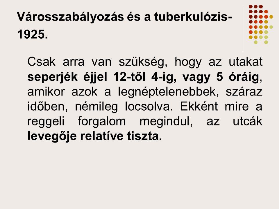 Városszabályozás és a tuberkulózis- 1925.