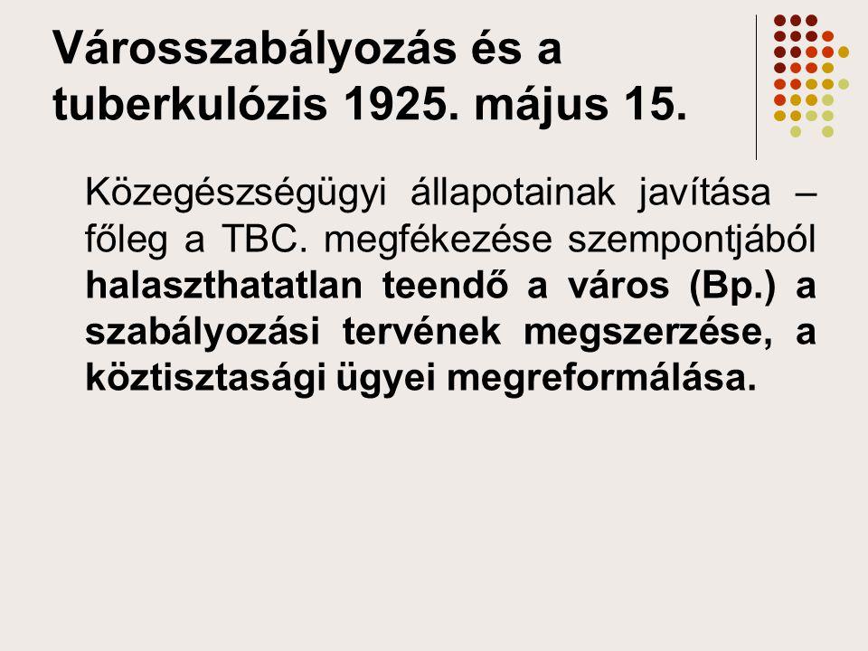 Városszabályozás és a tuberkulózis 1925. május 15.