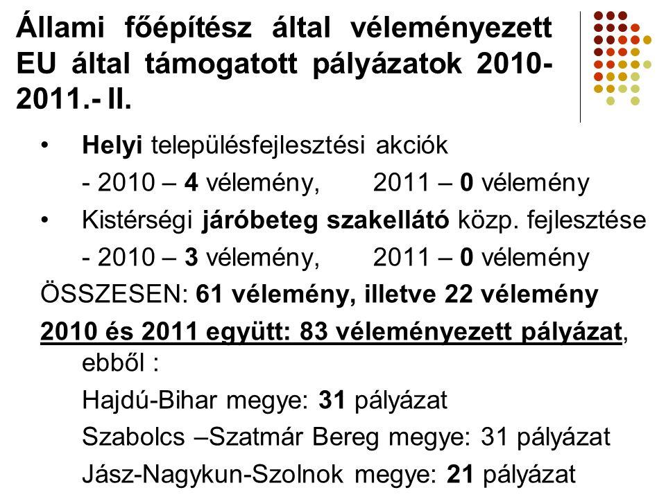 Állami főépítész által véleményezett EU által támogatott pályázatok 2010-2011.- II.