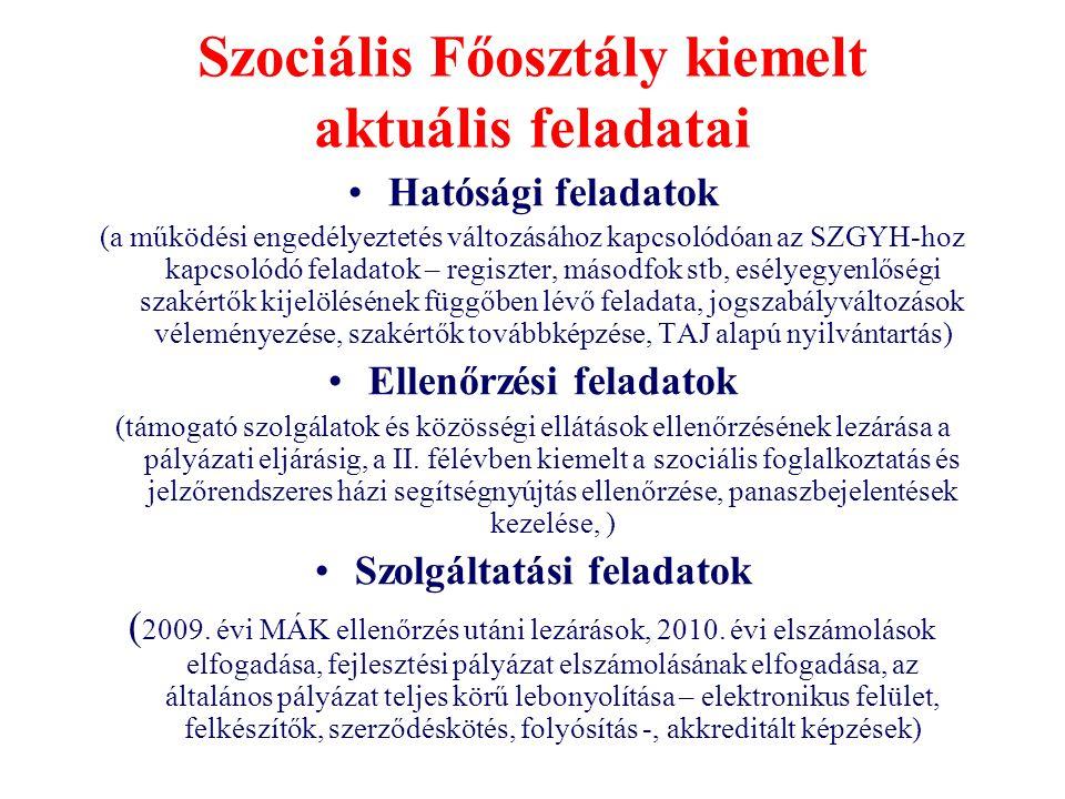 Szociális Főosztály kiemelt aktuális feladatai