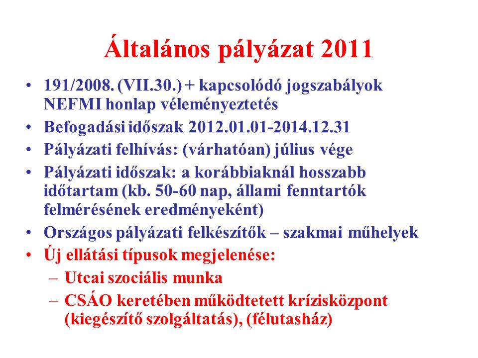 Általános pályázat 2011 191/2008. (VII.30.) + kapcsolódó jogszabályok NEFMI honlap véleményeztetés.