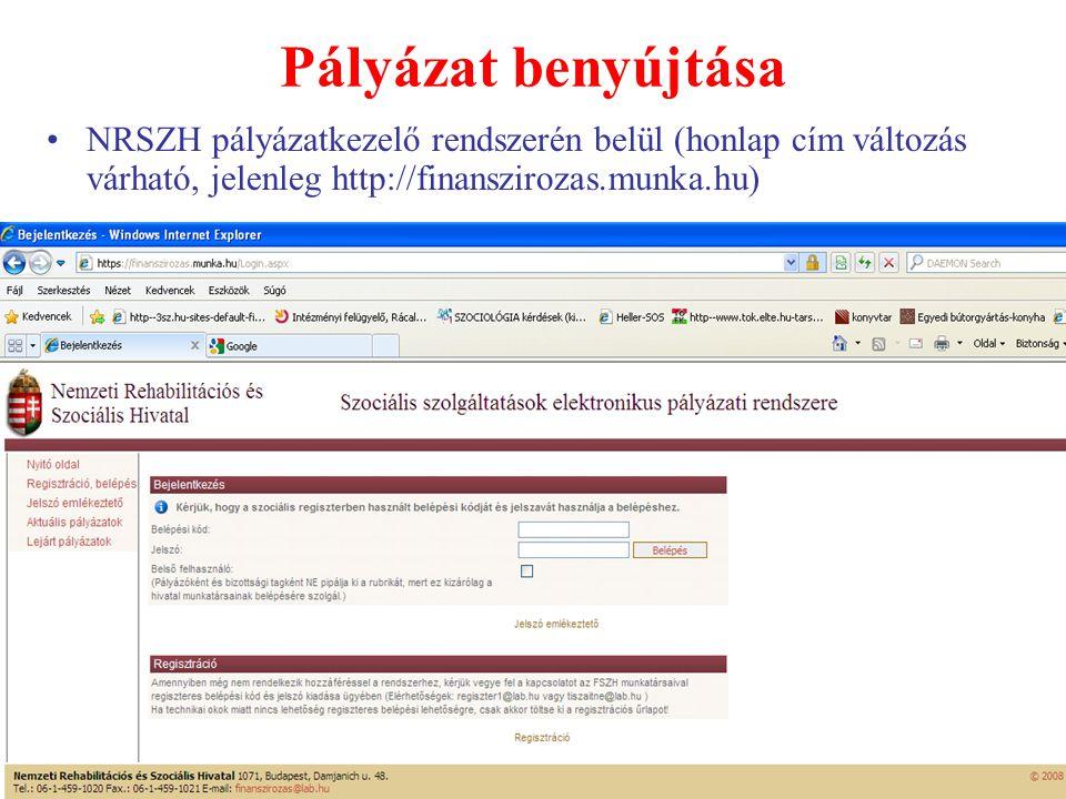 Pályázat benyújtása NRSZH pályázatkezelő rendszerén belül (honlap cím változás várható, jelenleg http://finanszirozas.munka.hu)