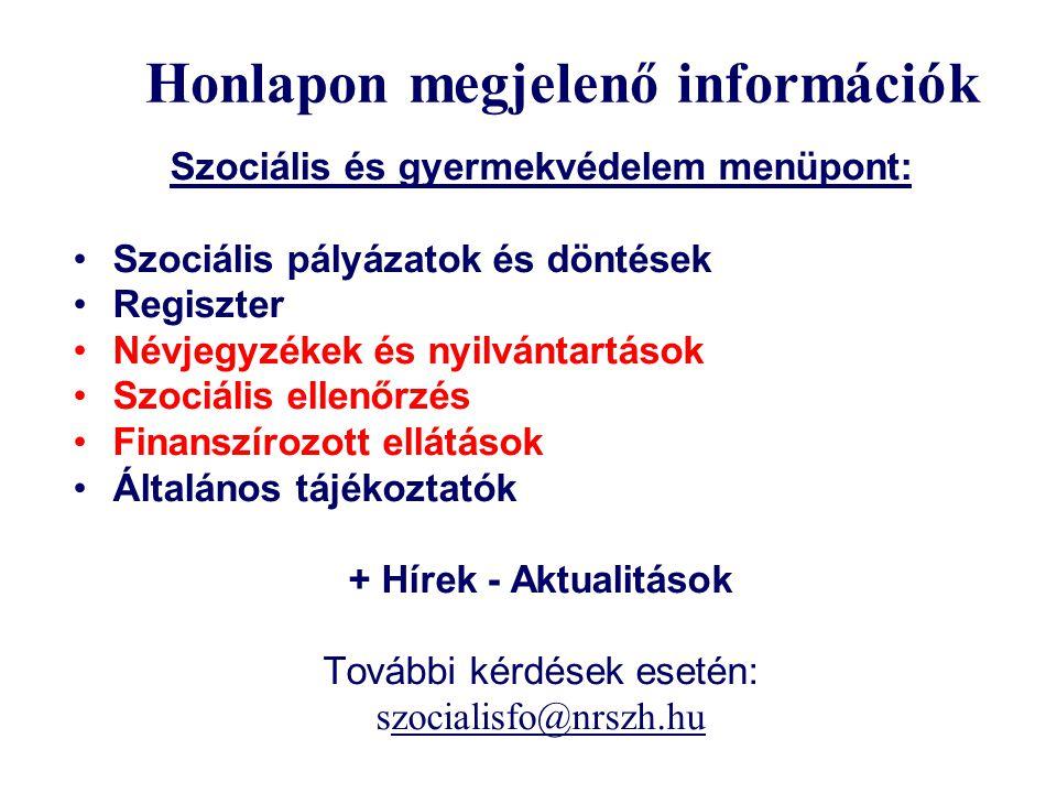 Honlapon megjelenő információk