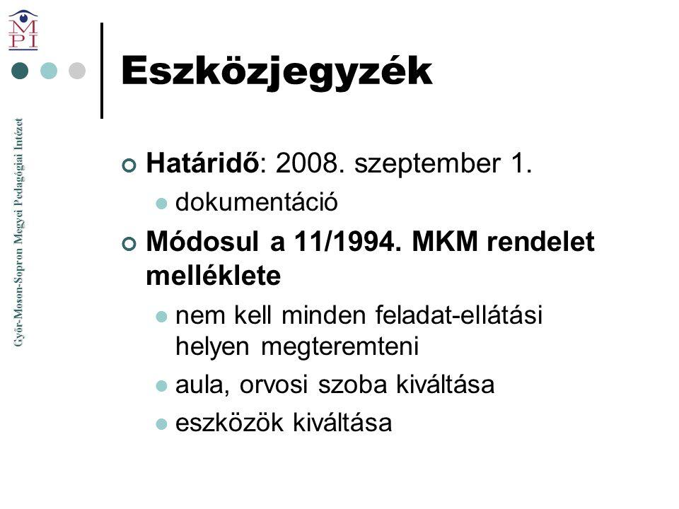 Eszközjegyzék Határidő: 2008. szeptember 1.