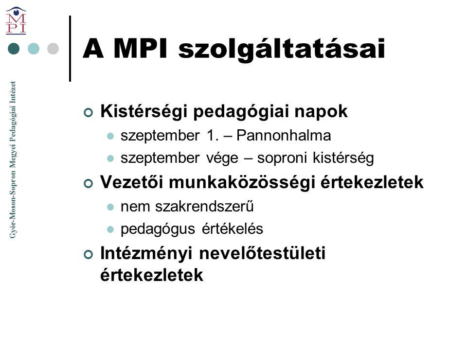 A MPI szolgáltatásai Kistérségi pedagógiai napok