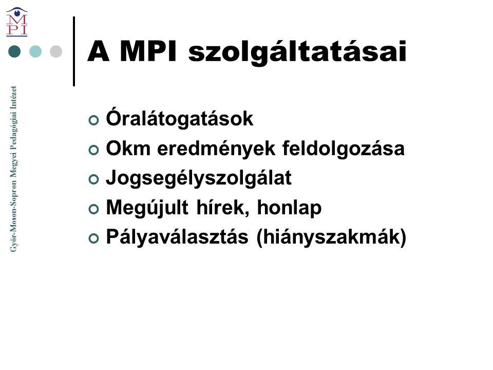 A MPI szolgáltatásai Óralátogatások Okm eredmények feldolgozása