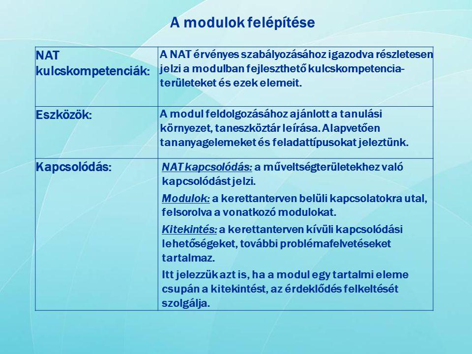 A modulok felépítése NAT kulcskompetenciák: Eszközök: Kapcsolódás: