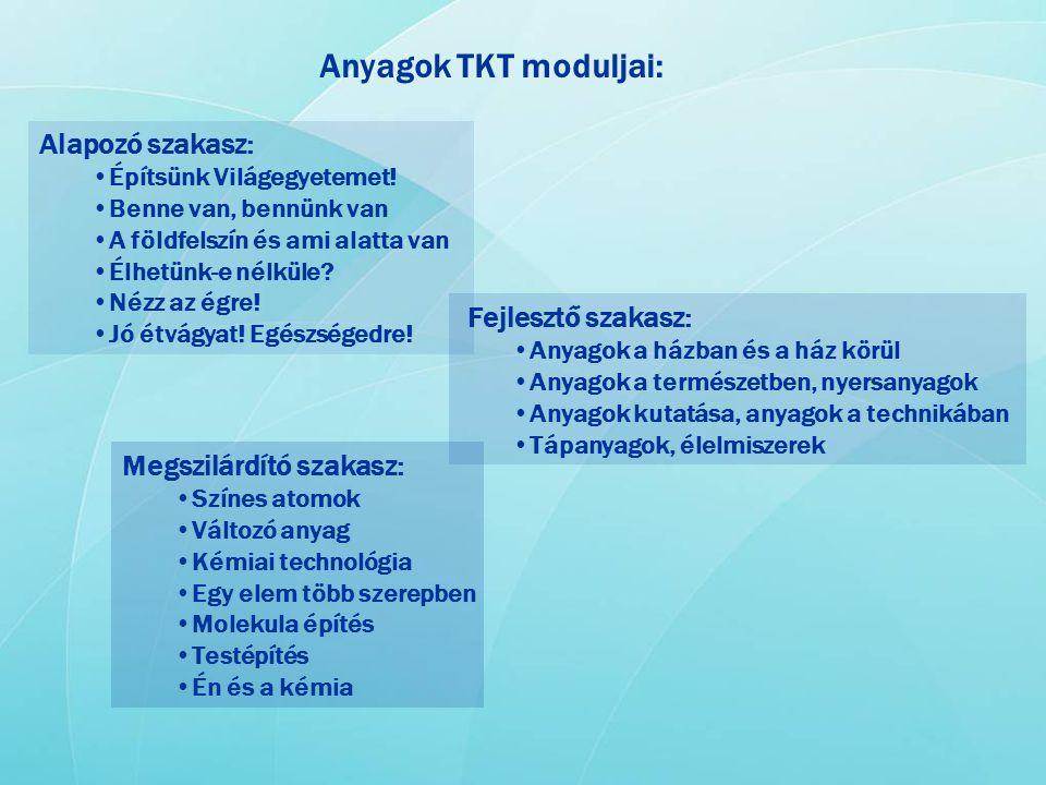 Anyagok TKT moduljai: Alapozó szakasz: Fejlesztő szakasz: