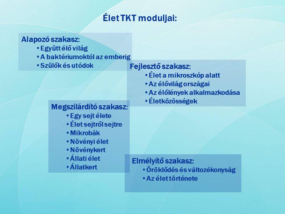 Élet TKT moduljai: Alapozó szakasz: Fejlesztő szakasz: