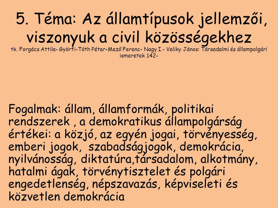 5. Téma: Az államtípusok jellemzői, viszonyuk a civil közösségekhez tk