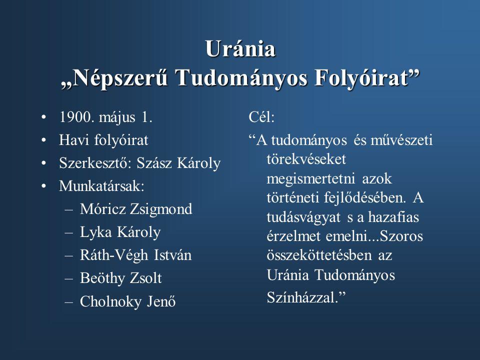 """Uránia """"Népszerű Tudományos Folyóirat"""