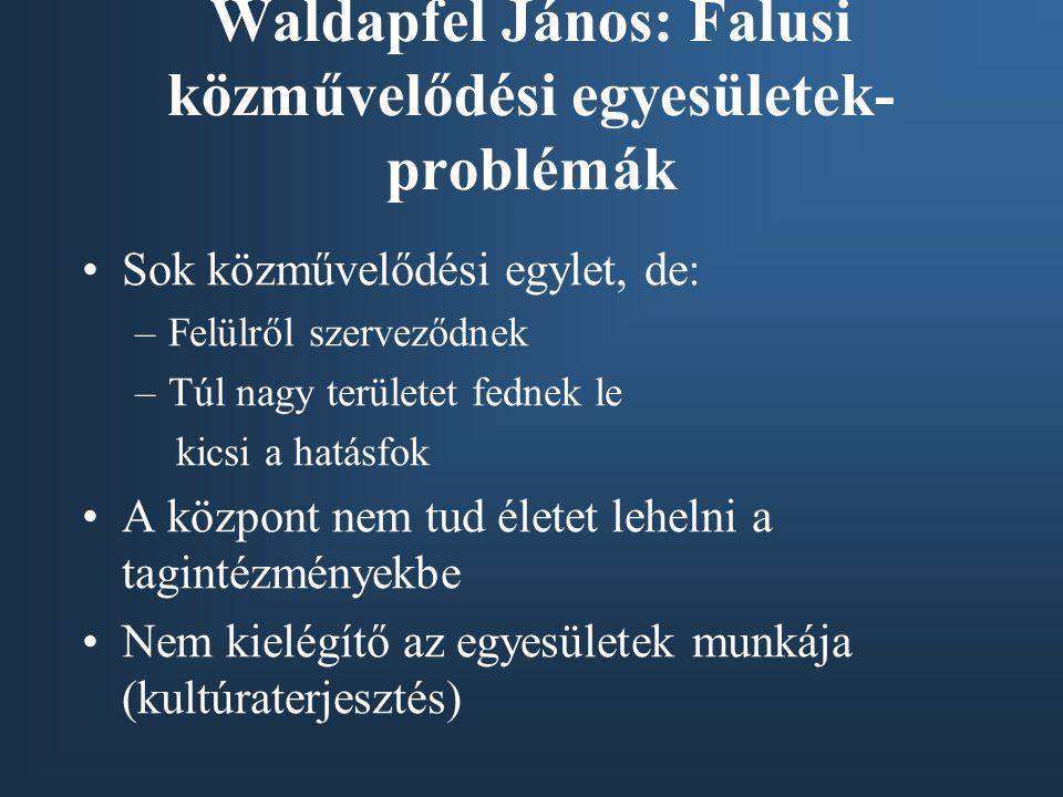 Waldapfel János: Falusi közművelődési egyesületek-problémák