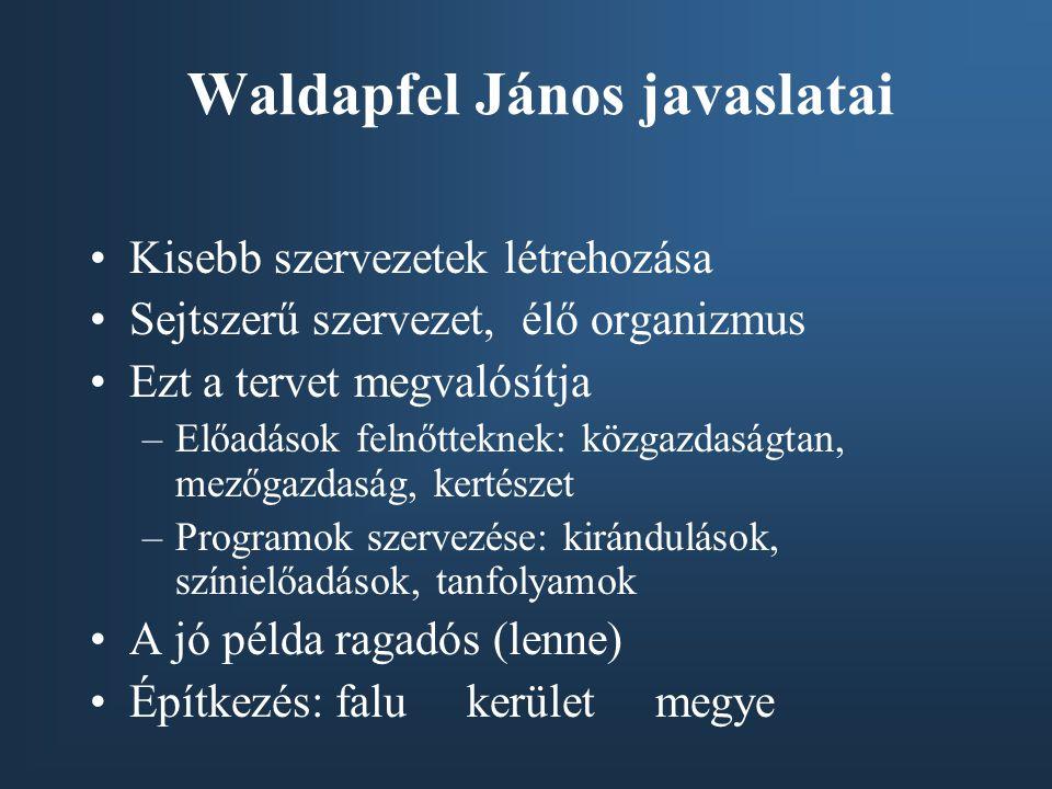 Waldapfel János javaslatai