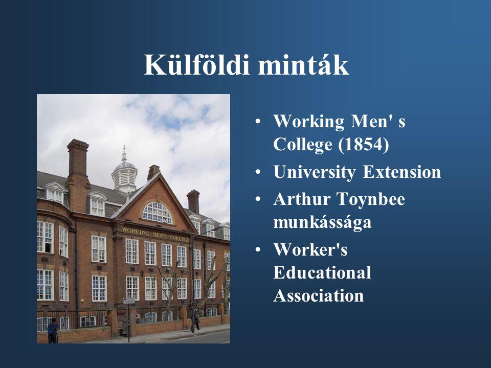 Külföldi minták Working Men s College (1854) University Extension