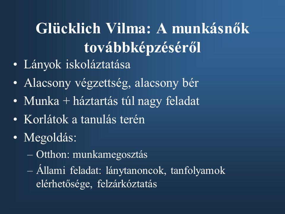 Glücklich Vilma: A munkásnők továbbképzéséről