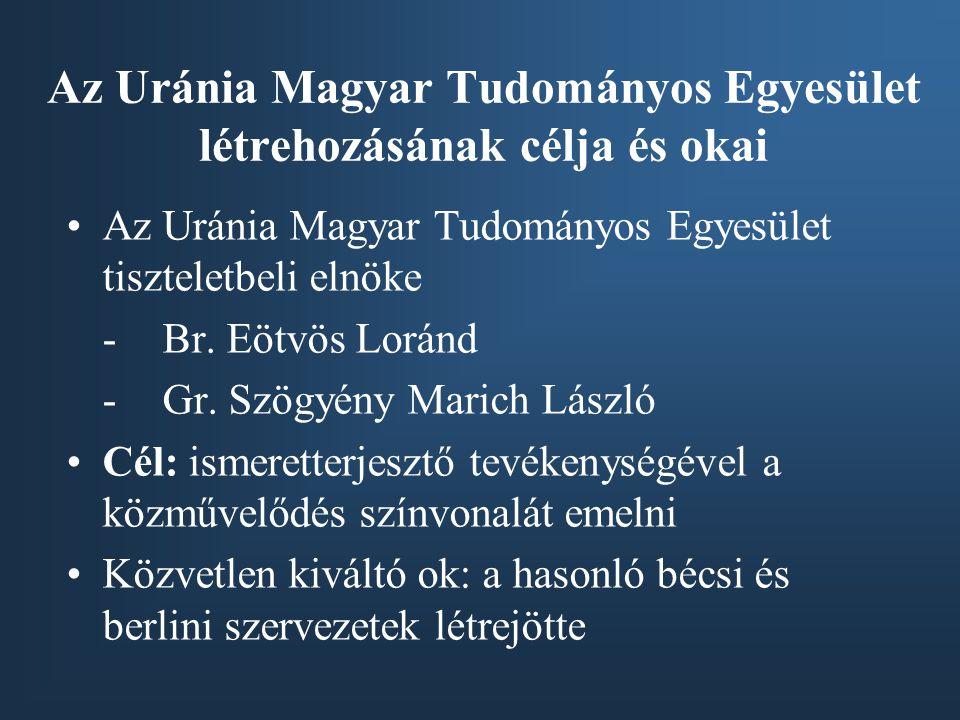 Az Uránia Magyar Tudományos Egyesület létrehozásának célja és okai