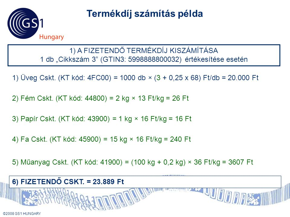 Termékdíj számítás példa
