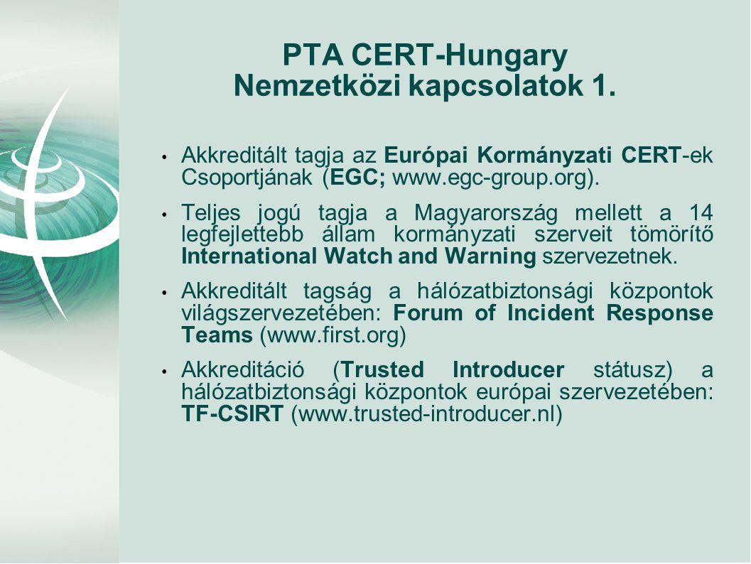 PTA CERT-Hungary Nemzetközi kapcsolatok 1.