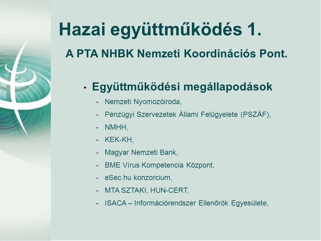 Hazai együttműködés 1. A PTA NHBK Nemzeti Koordinációs Pont.