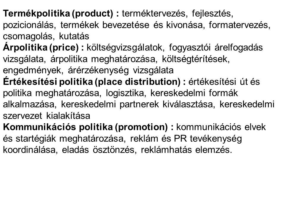 Termékpolitika (product) : terméktervezés, fejlesztés, pozicionálás, termékek bevezetése és kivonása, formatervezés, csomagolás, kutatás