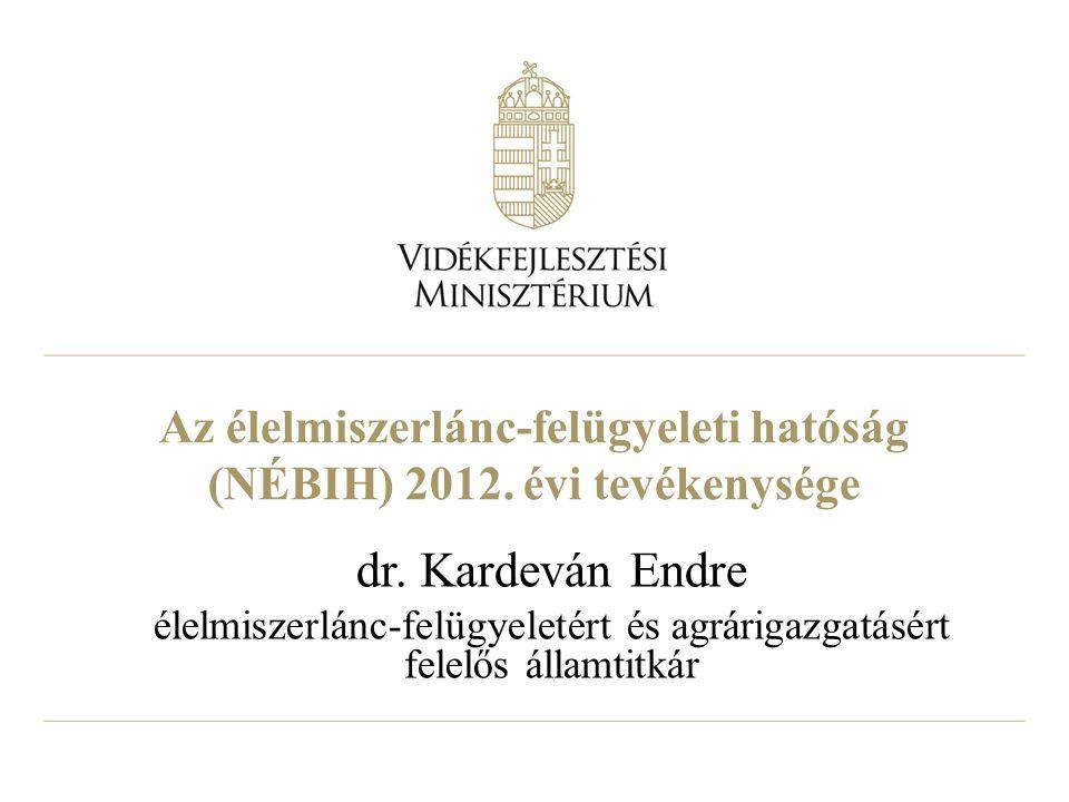 Az élelmiszerlánc-felügyeleti hatóság (NÉBIH) 2012. évi tevékenysége