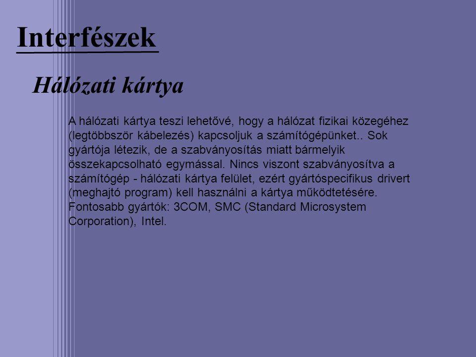 Interfészek Hálózati kártya