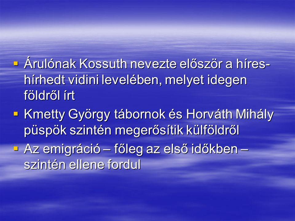 Árulónak Kossuth nevezte először a híres-hírhedt vidini levelében, melyet idegen földről írt