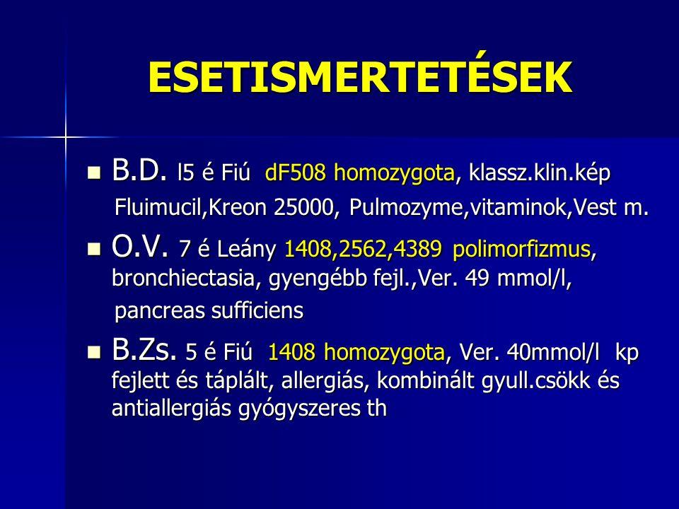 ESETISMERTETÉSEK B.D. l5 é Fiú dF508 homozygota, klassz.klin.kép