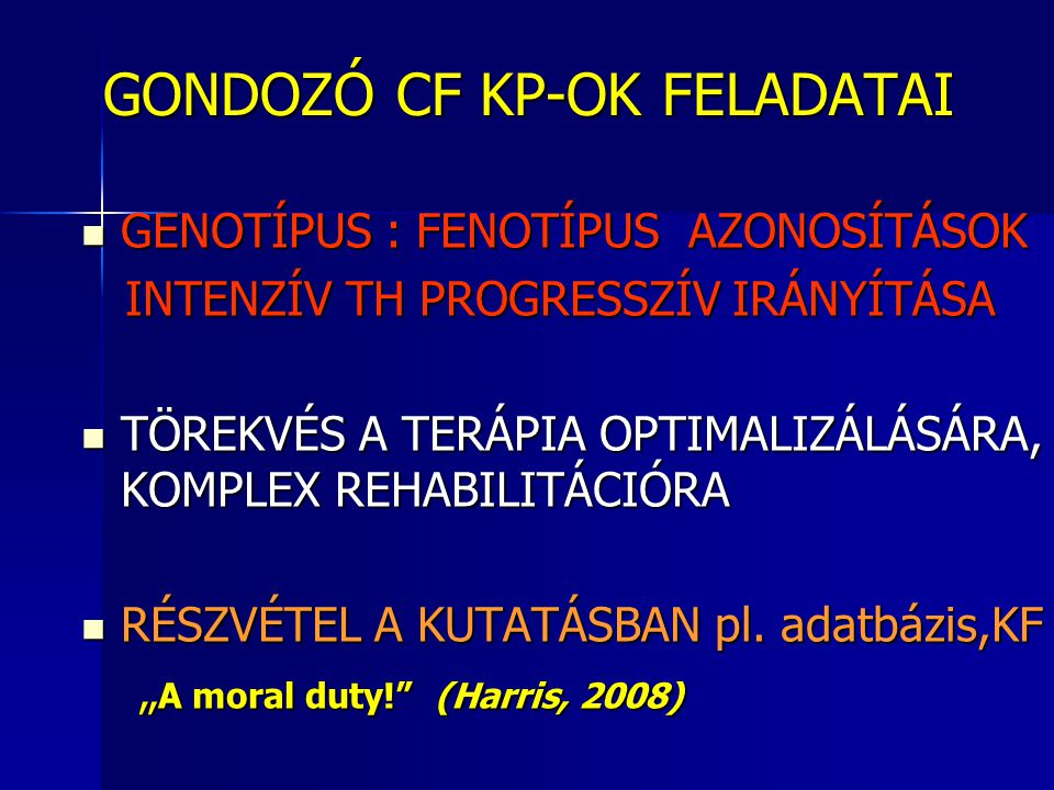 GONDOZÓ CF KP-OK FELADATAI