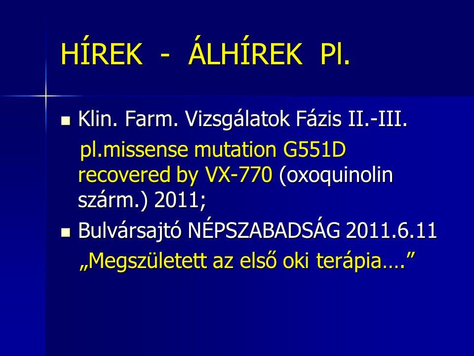 HÍREK - ÁLHÍREK Pl. Klin. Farm. Vizsgálatok Fázis II.-III.