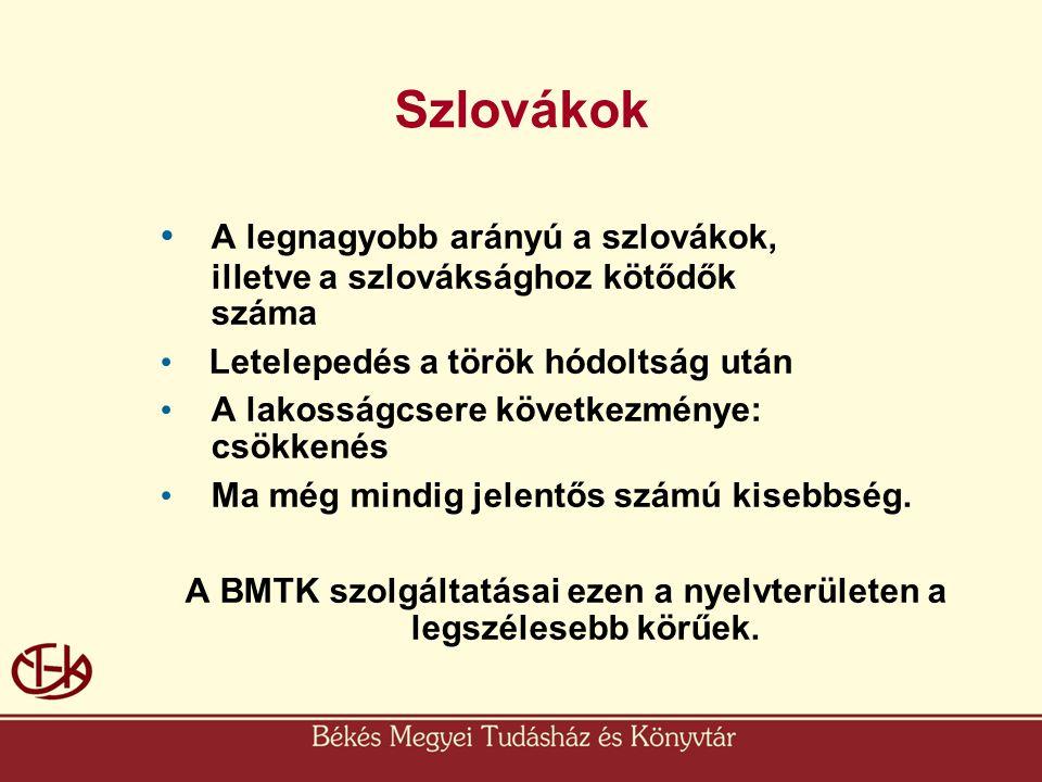 A BMTK szolgáltatásai ezen a nyelvterületen a legszélesebb körűek.