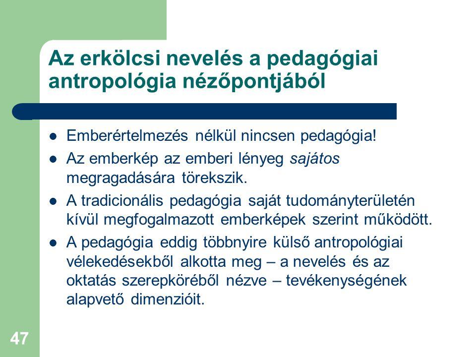 Az erkölcsi nevelés a pedagógiai antropológia nézőpontjából