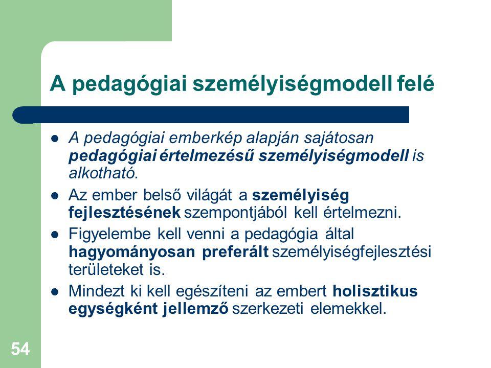 A pedagógiai személyiségmodell felé