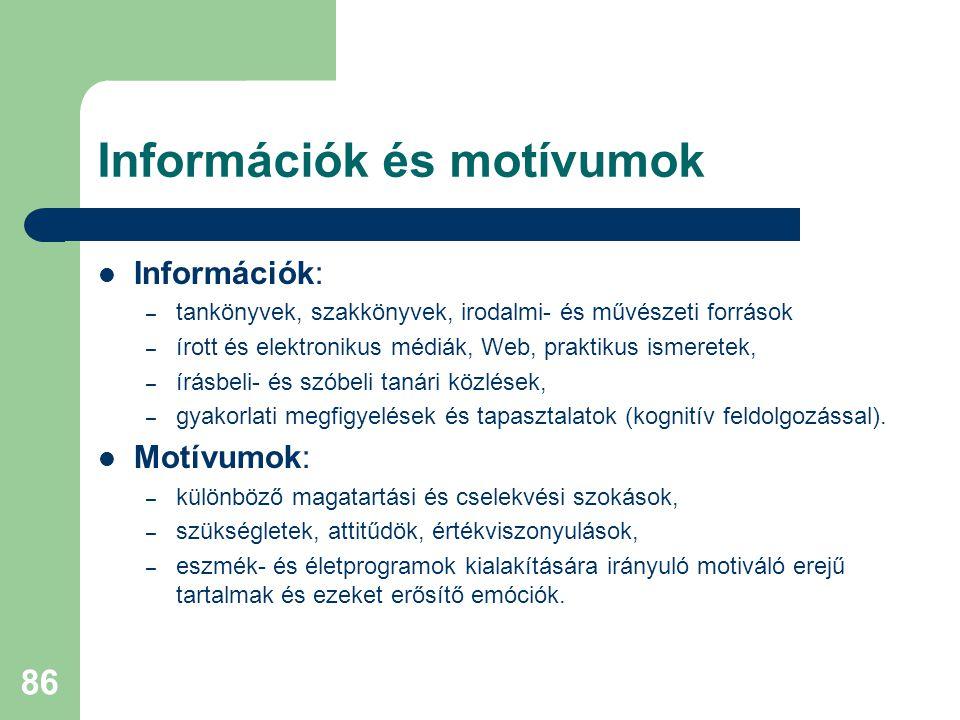 Információk és motívumok