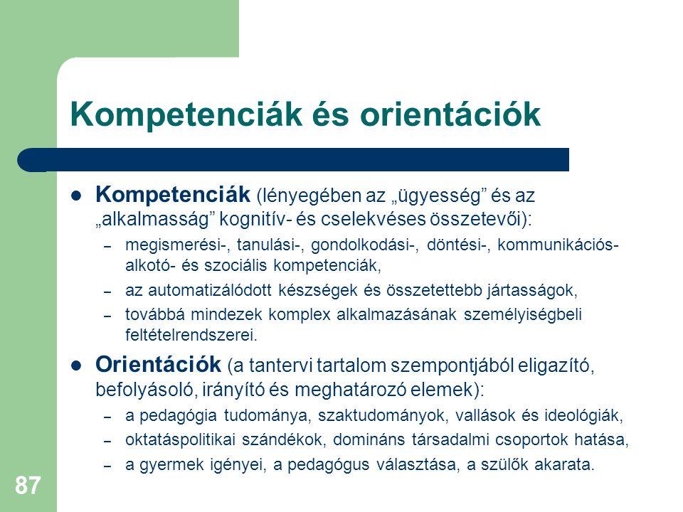 Kompetenciák és orientációk