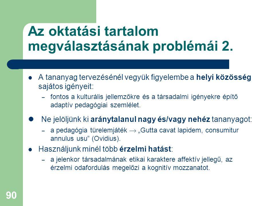 Az oktatási tartalom megválasztásának problémái 2.