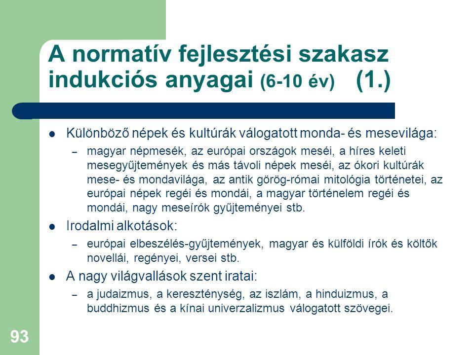 A normatív fejlesztési szakasz indukciós anyagai (6-10 év) (1.)