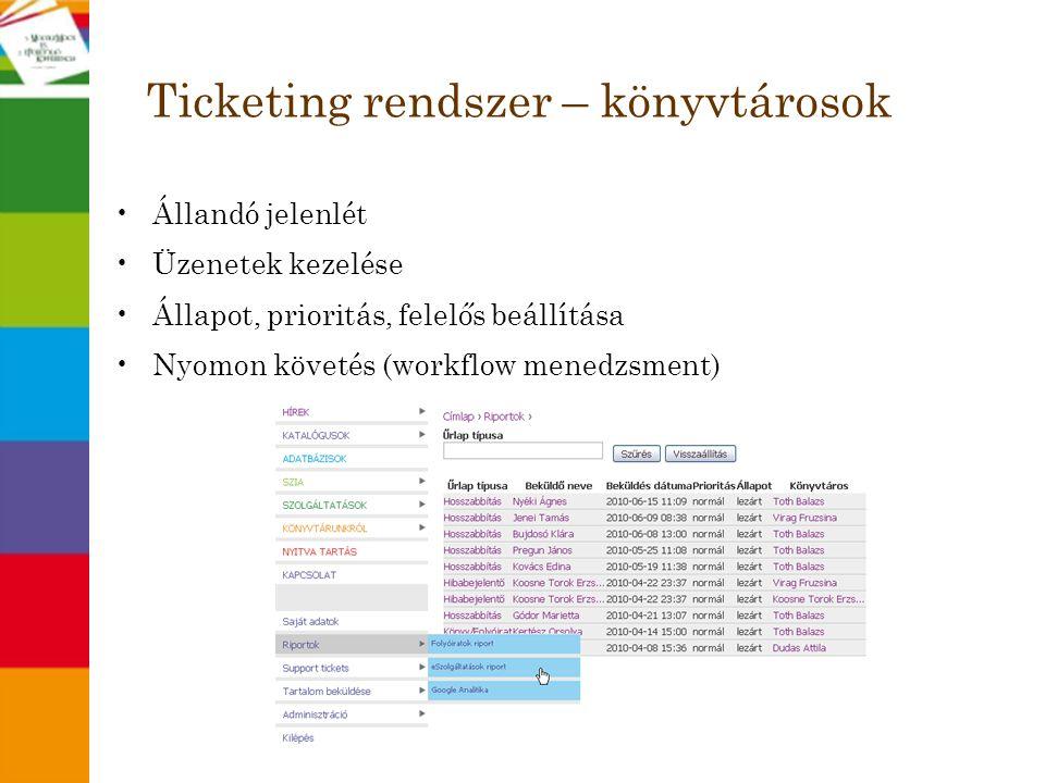 Ticketing rendszer – könyvtárosok